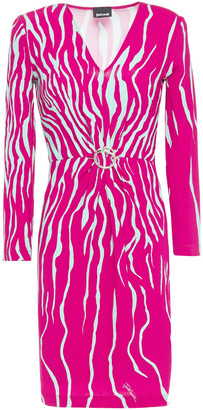 Just Cavalli Buckle-embellished Printed Stretch-jersey Mini Dress
