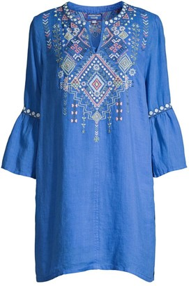 Johnny Was Workshop Chiara Embroidered Linen Tunic Dress