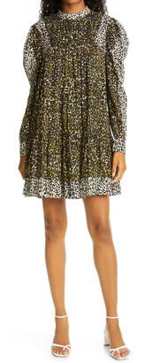 Ulla Johnson Amira Animal Print Long Sleeve Babydoll Dress