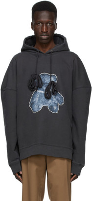 we11done Grey French Terry Teddy Hoodie