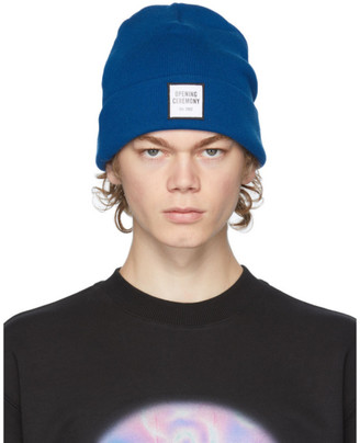 Opening Ceremony Blue Wool Logo Beanie