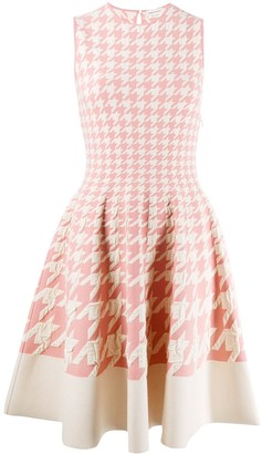 Alexander McQueen Houndstooth Print Pleated Dress