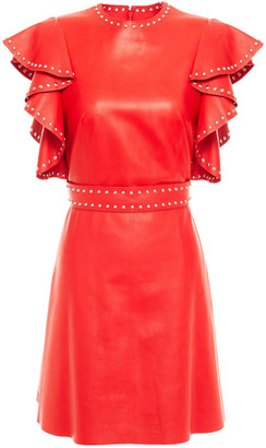 Alexander McQueen Ruffled Studded Leather Mini Dress