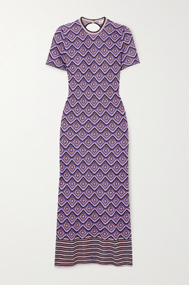 Paco Rabanne Metallic Intarsia Knitted Midi Dress - Purple