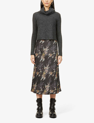 AllSaints Tierny Melisma jumper-overlay wool-blend and crepe midi dress