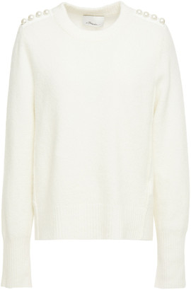 3.1 Phillip Lim Faux Pearl-embellished Melange Knitted Sweater
