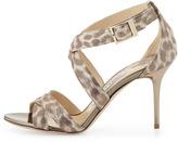 Jimmy Choo Louise Shimmery Leopard-Print Sandal, Gold