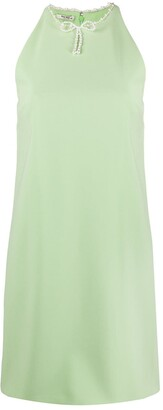Miu Miu Pearl-Neck Shift Mini-Dress