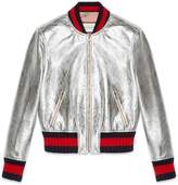 Gucci Crackle leather bomber jacket