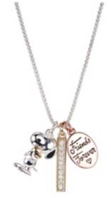 """Peanuts Fine Silver Plated Tri-Tone Friends Forever"""" Snoopy and Woodstock Crystal Pendant Necklace, 16""""+2"""" for Unwritten"""