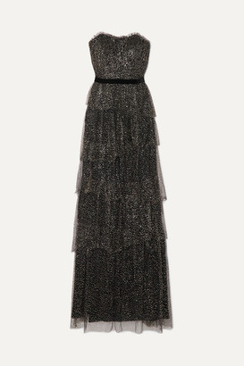 Marchesa Strapless Tiered Velvet-trimmed Glittered Tulle Gown - Black