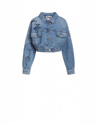 Moschino Denim Jacket With Cornely Embroidery Woman Blue Size 40 It - (6 Us)