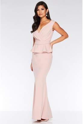 Quiz Nude Bardot Wrap Peplum Maxi Dress