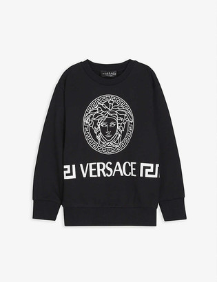 Versace Greek logo-print cotton sweatshirt 4-14 years