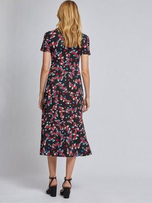 Dorothy Perkins Floral Empire Jersey Midi Dress - Black
