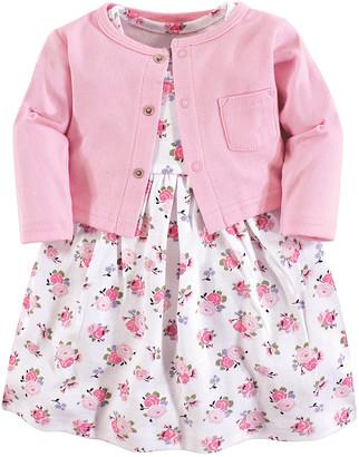 Luvable Friends Girls' Casual Dresses Pink - Pink Floral Dress & Cardigan - Newborn, Infant, Toddler & Girls