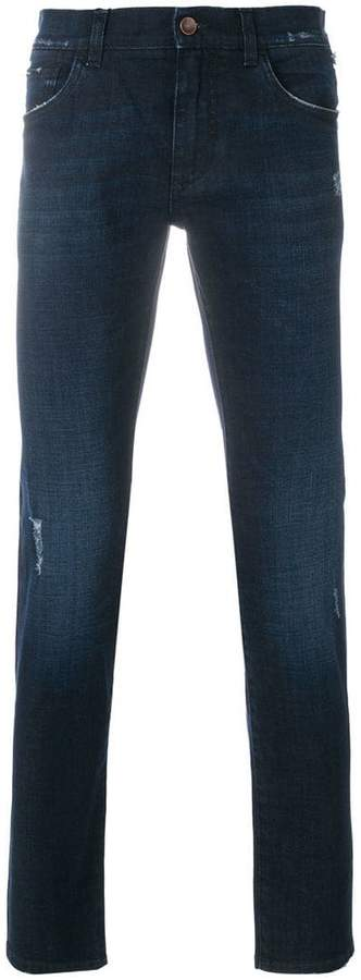 Dolce & Gabbana slight distressed slim fit jeans