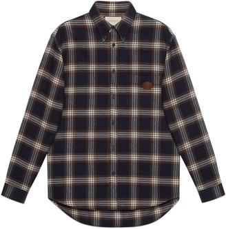 Gucci Check wool shirt with InterlockingG