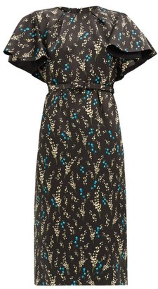 Erdem Gaia Willow Ditsy-print Silk Dress - Black Blue