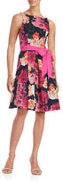 Eliza J Floral Grid Fit-and-Flare Dress