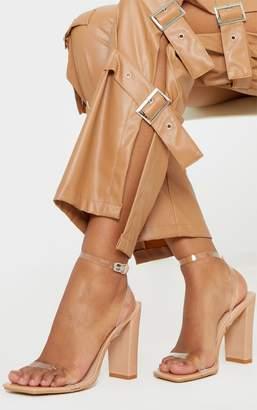 PrettyLittleThing Nude Flat Block Heel Square Toe Clear Strap Sandal