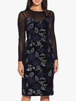 Adrianna Papell Natalia Floral Lace Dress, Black/Navy