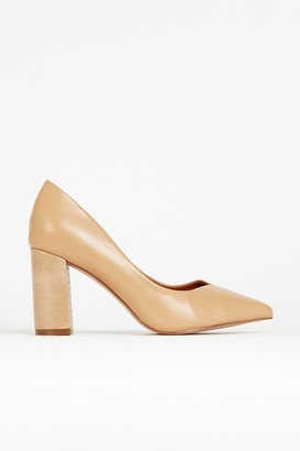Wallis **WIDE FIT Nude Pointed Court Shoe