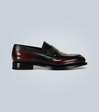 Santoni Burnished leather loafers