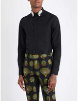 Alexander Mcqueen Peacock Feather-embroidered Slim-fit Cotton Shirt
