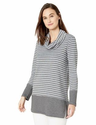 Chaus Women's Long Sleeve Double Stripe Snit Cowl Neck Top