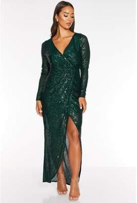 Quiz Green Sequin Long Sleeve Wrap Maxi Dress