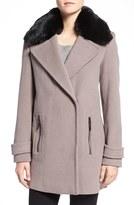 Calvin Klein Women's Faux Fur Trim Basket Weave Wool Blend Coat