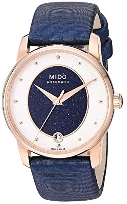 MIDO Baroncelli Wild Stone Rose PVD Case and Blue Fabric Strap - M0352073749100 (Blue) Watches
