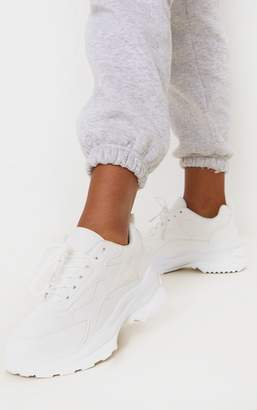 PrettyLittleThing White Double Sole Trainer
