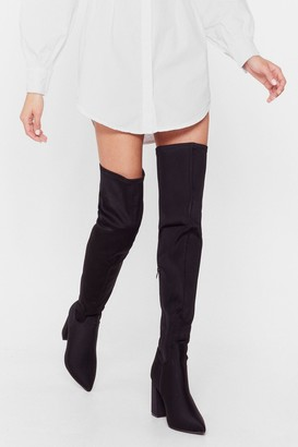 Nasty Gal Womens Faux Suede For You Over-the-Knee Wide Fit Boots - Black - 3, Black
