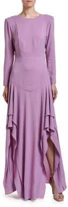 Stella McCartney Frilly Crepe Drop-Waist Dress