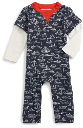 Tea Collection Infant Boy's Sail Away Layered Romper