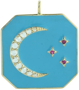Artisan 14K Yellow Gold Moon Star Diamond Designer Pendant Ruby Gemstone Enamel Jewelry