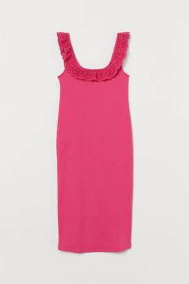 H&M MAMA Ribbed Cotton Dress - Pink