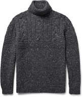 Brunello Cucinelli - Mélange Cable-knit Wool-blend Rollneck Sweater