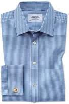 Charles Tyrwhitt Classic Fit Small Gingham Navy Cotton Dress Shirt Size 15/35