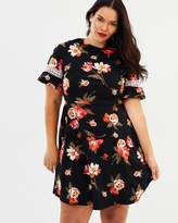 Bloom Pleat Neck Chiffon Fit-and-Flare Dress
