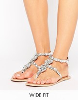 Asos Flourish Wide Fit Leather Embellished Flat Sandals