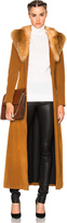 ThePerfext Penny Lane Long Suede Coat with Fox Fur Collar