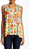 Spense Split Neck Hi-Lo Sleeveless Blouse