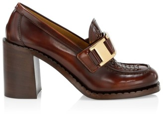 Prada Leather Platform Penny Loafers
