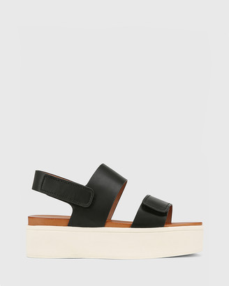 Wittner - Women's Black Sandals - Jolly Leather Slingback Flatform Sandals - Size One Size, 37 at The Iconic
