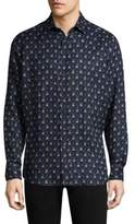 Etro Shibori Tie-Dye Linen Casual Button-Down Shirt