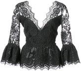 Marchesa peplum lace blouse