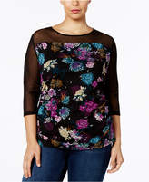INC International Concepts Plus Size Printed Illusion Top, Created for Macy's
